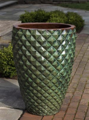 Facet Planter, Tall-Rustic Green-S/1